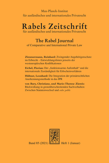 Brussels IIa / Rome III. Article-by-Article Commentary. Ed. by Christoph Althammer. – München: Beck; Oxford: Hart; Baden-Baden: Nomos 2019. XVII, 411 pp.