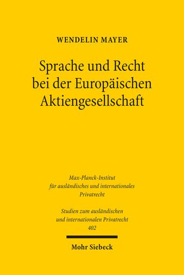 Sprache und Recht bei der Europäischen Aktiengesellschaft