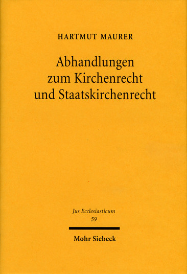 Abhandlungen zum Kirchenrecht und Staatskirchenrecht