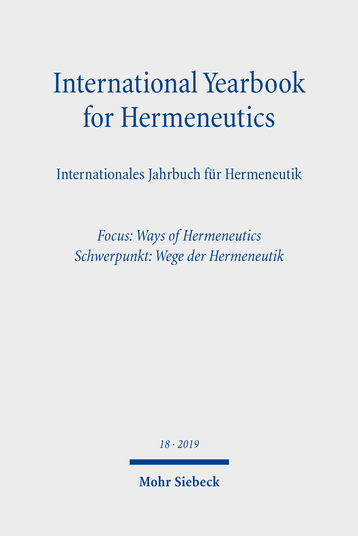 International Yearbook for Hermeneutics/Internationales Jahrbuch für Hermeneutik