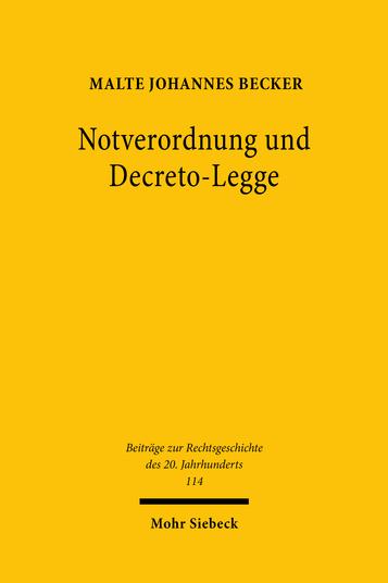 Notverordnung und Decreto-Legge